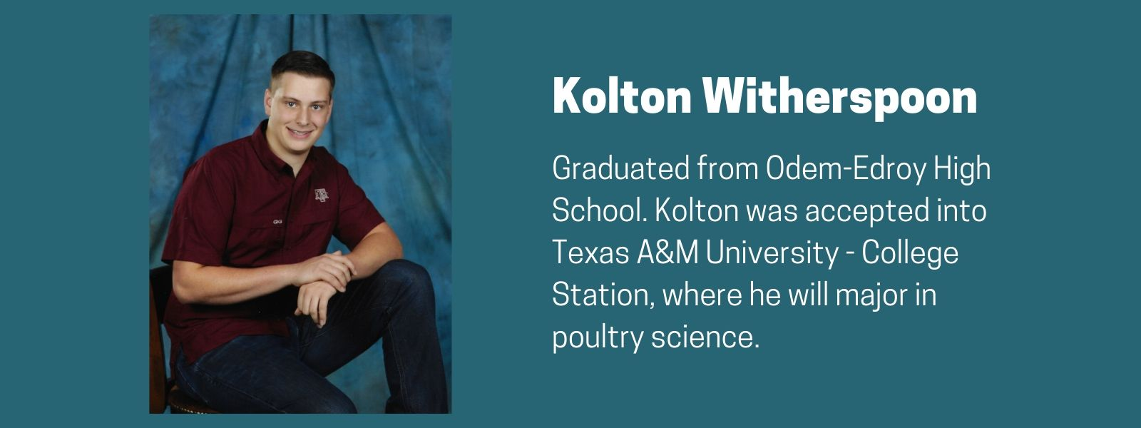 Kolton Witherspoon Scholarship Recipient