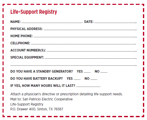 Life Support Registry Form PDF
